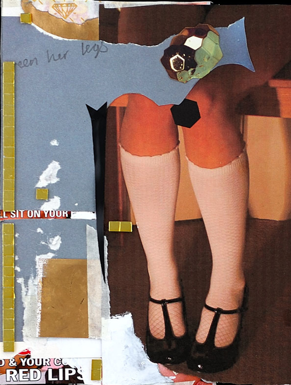 Between her legs collage